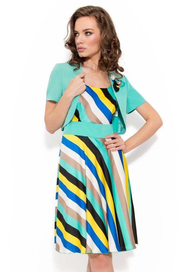 Costum cu rochie 8031 turcoaz