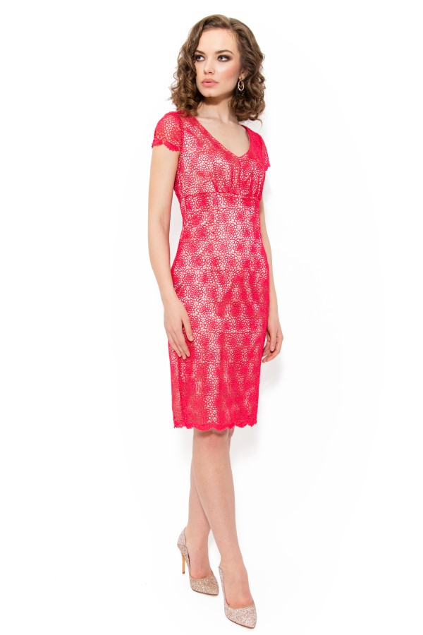 Rochie din dantela R 706 rosu amaranth
