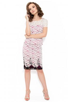 Costum cu top si fusta 6017 rosu-negru