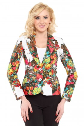 Sacou casual model floral S 718 rosu