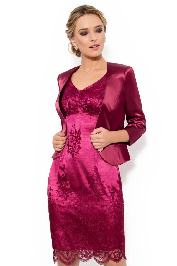 Costum cu rochie dantela 9230 grena