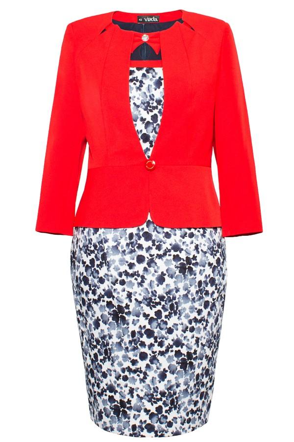 Costum cu rochie 9306 rosu inchis