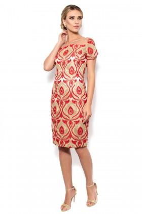 Rochie eleganta R 741 dantela rosu-auriu