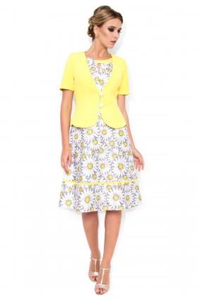 Costum cu rochie 9309 model floral gri