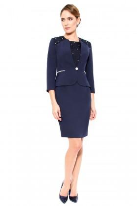 Costum cu rochie 9300 bleumarin