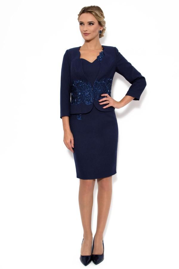 Costum cu rochie 9310 bleumarin