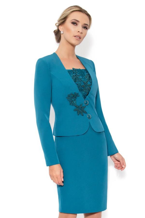Costum cu rochie 9311 turcoaz