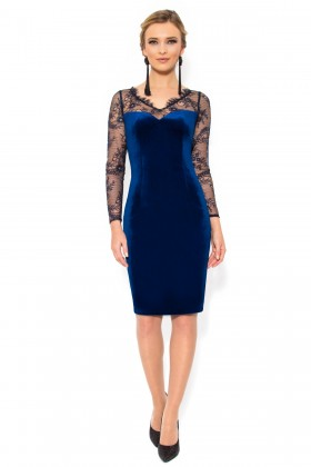 Rochie R 960 catifea albastra