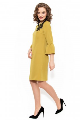 Rochie casual R 952 mustar inchis