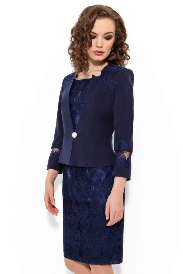 Costum cu rochie 9334 bleumarin