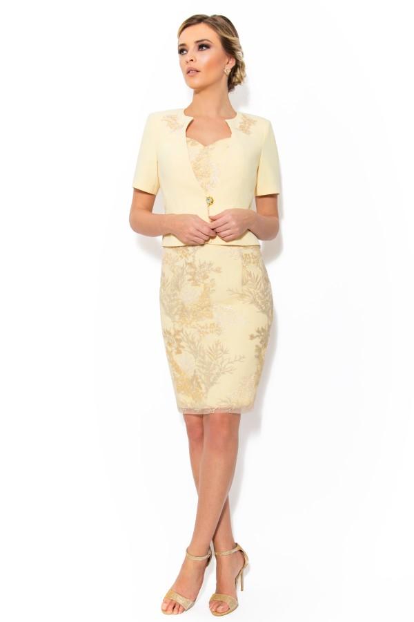 Costum cu rochie 9301 galben pal