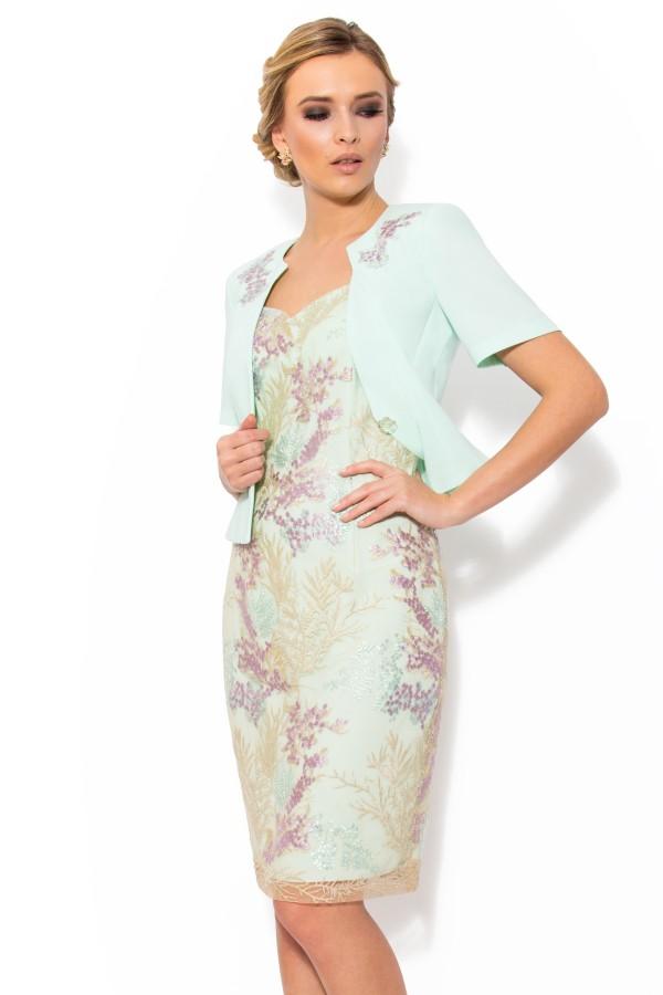 Costum cu rochie 9301 aqua exotic