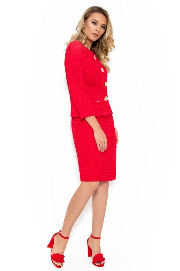 Costum cu fusta 1441 dantela rosie