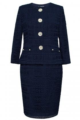 Costum cu fusta 1441 dantela bleumarin