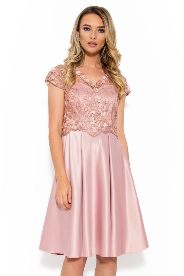 Rochie eleganta R 009 roz 3D