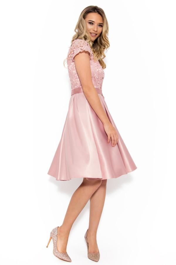 Rochie eleganta R 009 roz pal