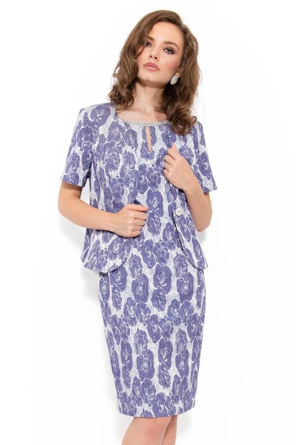Costum cu rochie 9348 gri-albastru