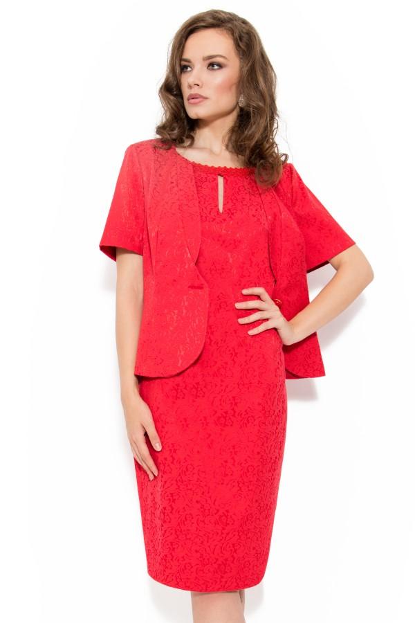 Costum cu rochie 9348 rosu