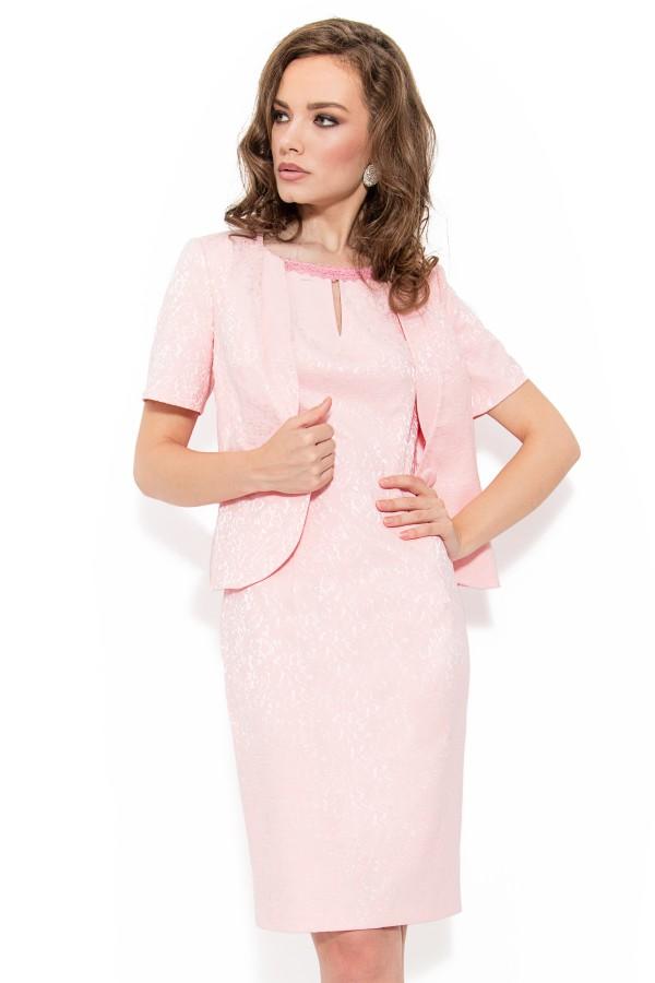 Costum cu rochie 9348 roz