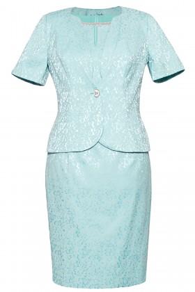 Costum cu rochie 9348 turcoaz