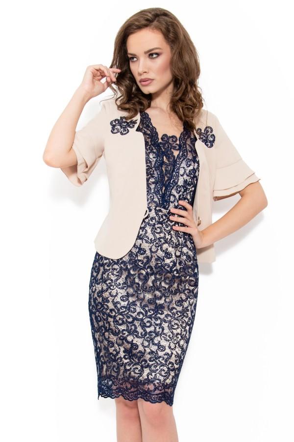 Costum cu rochie 9347 bleumarin