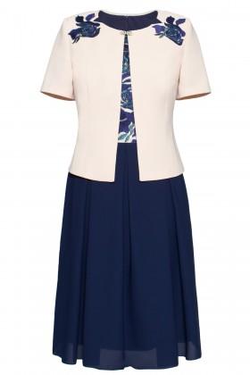 Costum cu rochie 9342 bleumarin