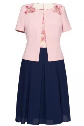 Costum cu rochie 9342 roz