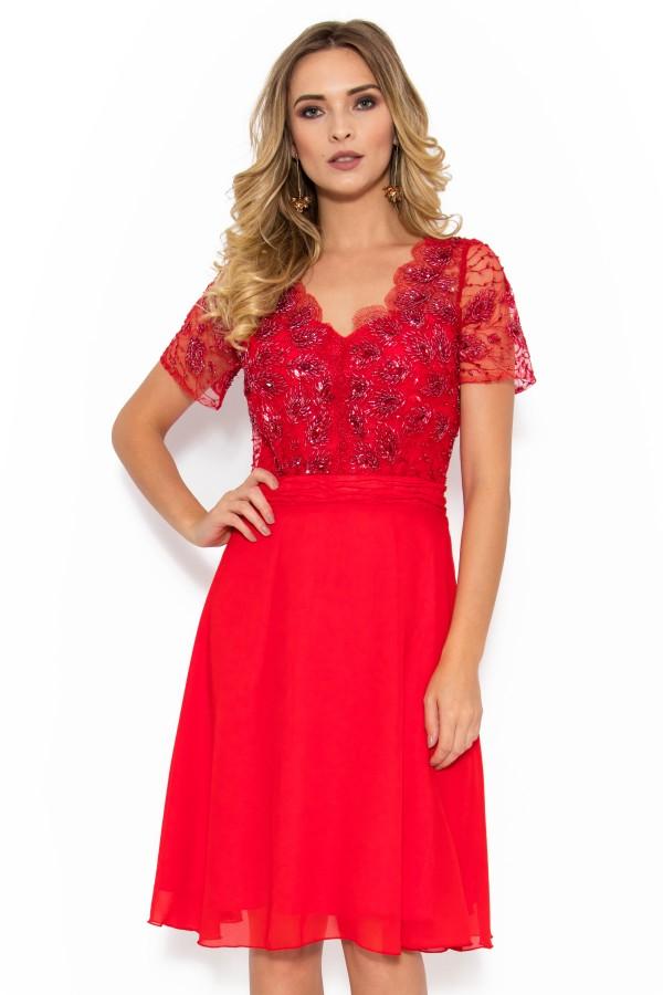 Rochie eleganta R 942 rosu