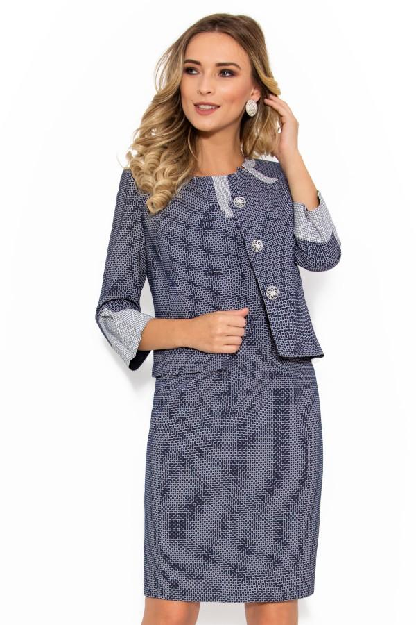Costum cu rochie 9344 bleumarin