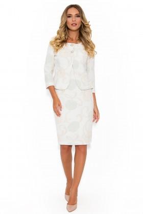 Costum cu rochie 9351 crem-turcoaz
