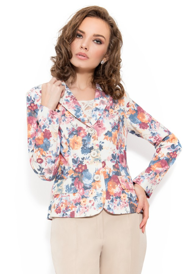Sacou casual model floral S 1352 crem
