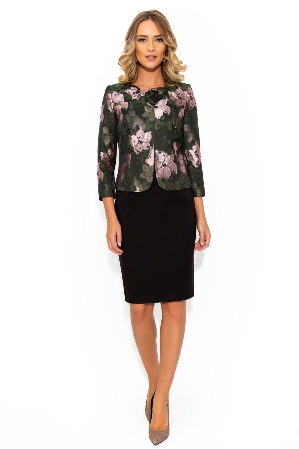 Costum cu rochie 9353 brocart floral