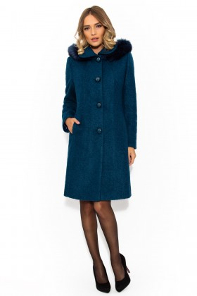 Palton cu gluga 7219 bleumarin