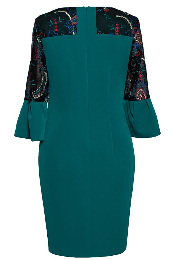 Rochie casual R 052 verde smarald