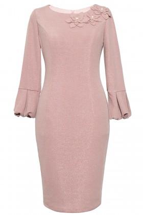 Rochie casual R 063 roz prafuit