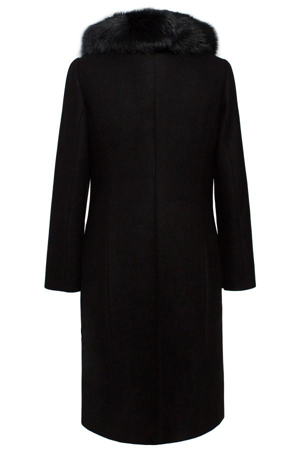 Palton lung 7225 stofa neagra