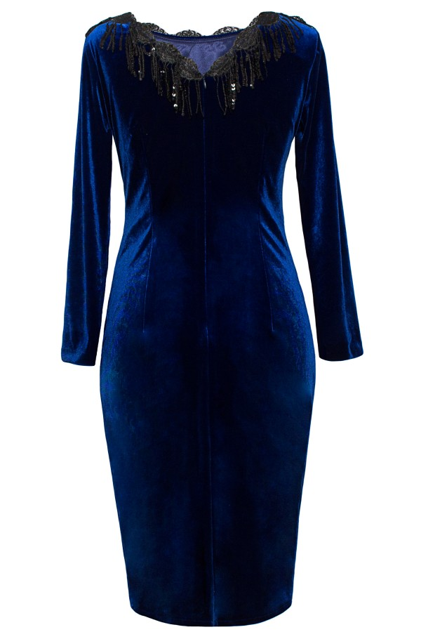 Rochie R 089 catifea albastra