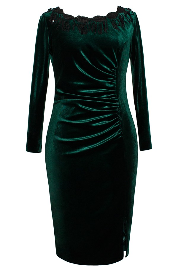 Rochie R 089 catifea verde