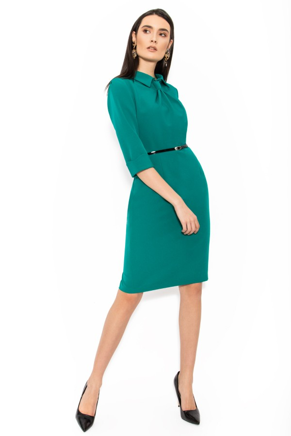 Rochie casual-office R 064 verde