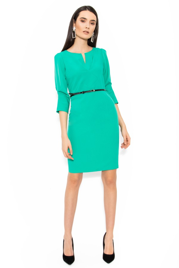 Rochie casual-office R 114 verde