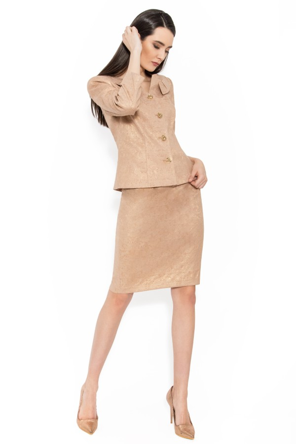 Costum cu fusta 1450 bej
