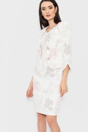 Costum cu rochie 9369 crem-roz