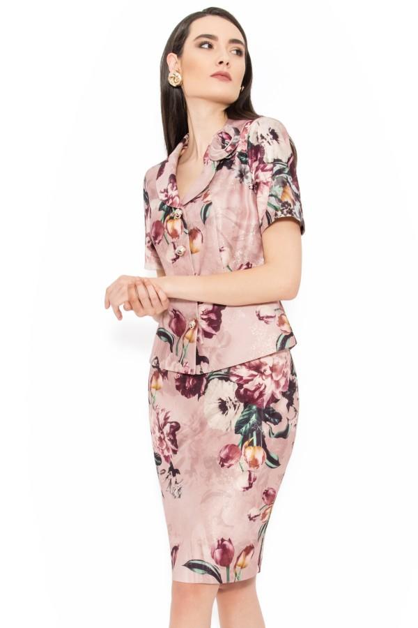 Costum cu fusta 1452 roz