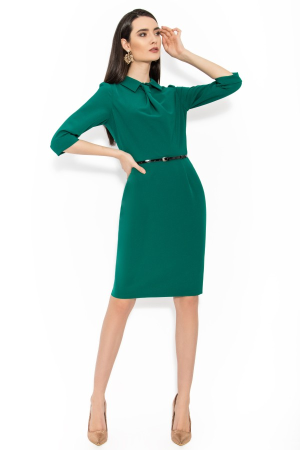 Rochie casual-office R 064 verde inchis