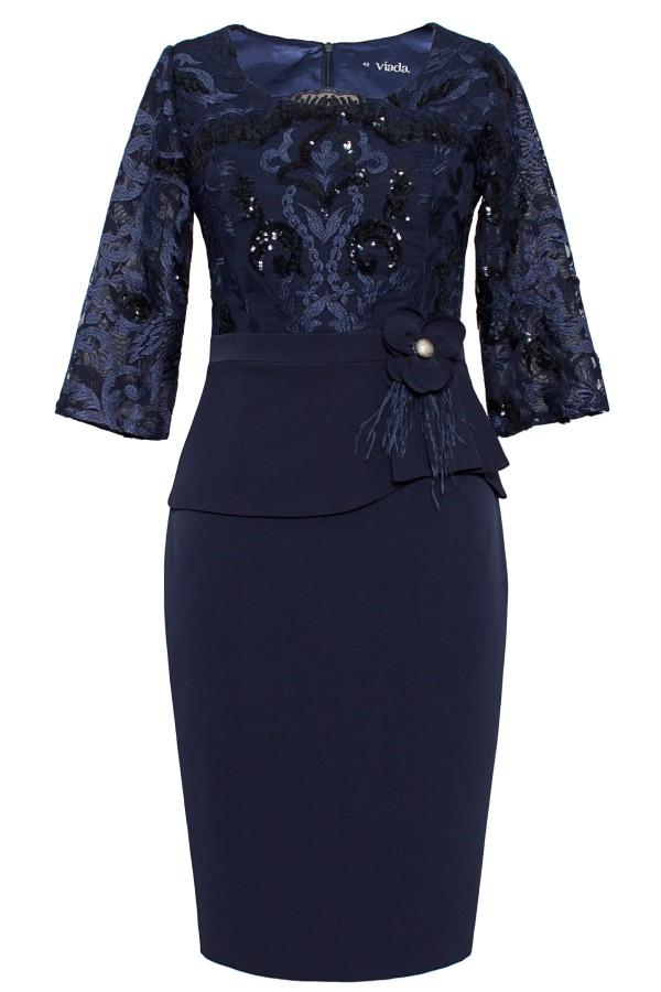 Rochie eleganta R 039 bleumarin