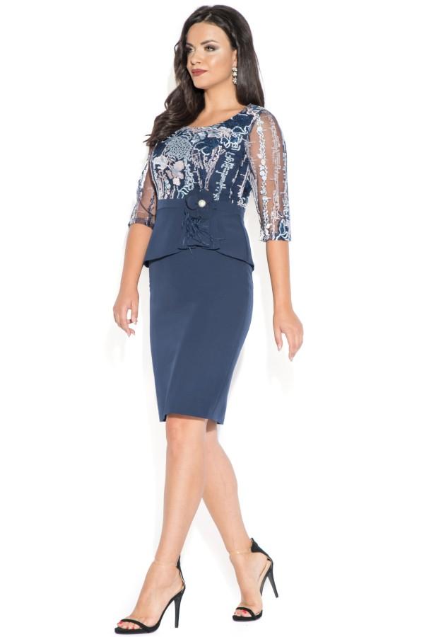 Rochie eleganta R 039 dantela bleu