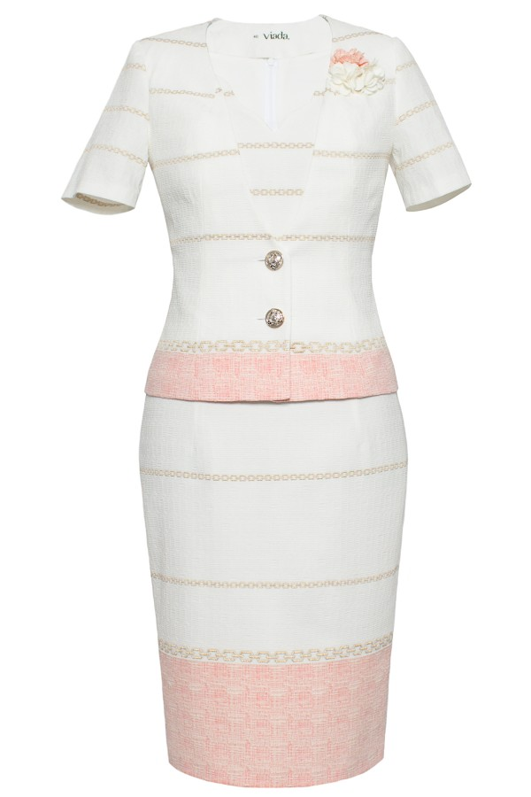 Costum cu rochie 9377 roz