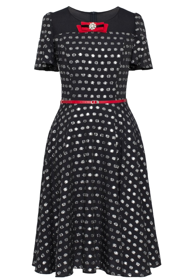 Rochie cu buline R 167 negru