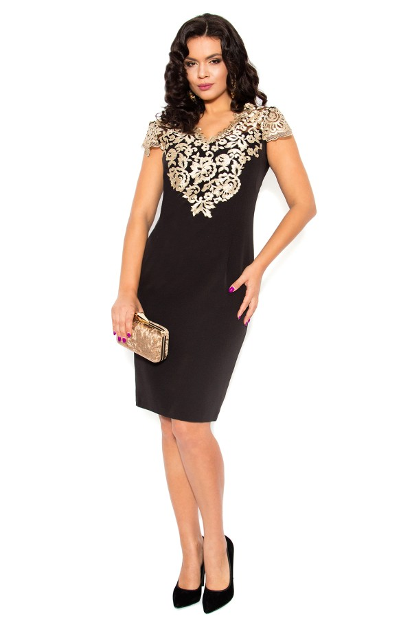 Rochie eleganta R 927 negru-auriu