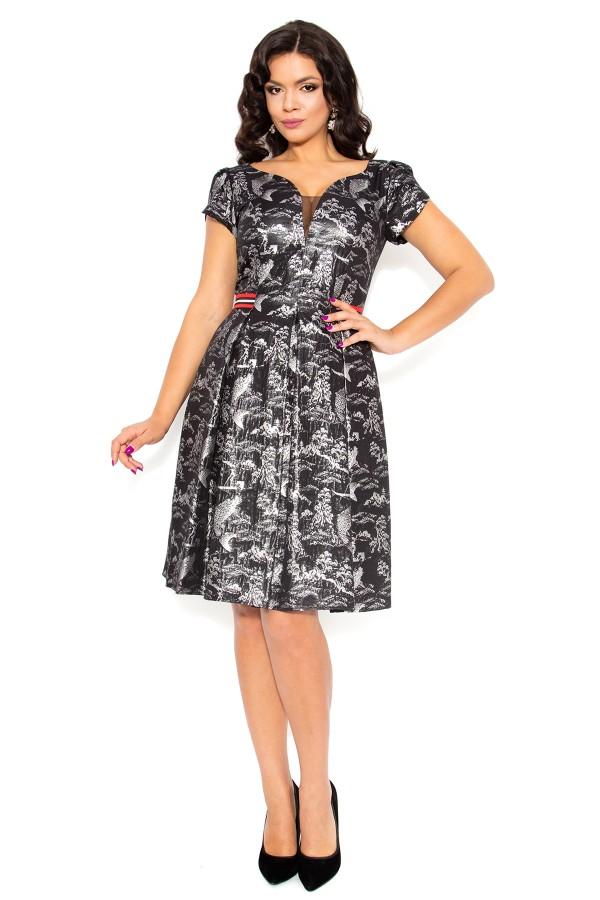 Rochie eleganta R 170 negru-argintiu